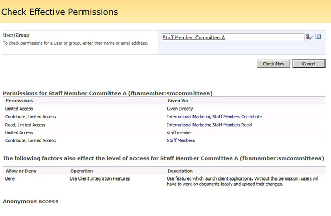 SharePoint Admin Toolkit Check Effective Permissions