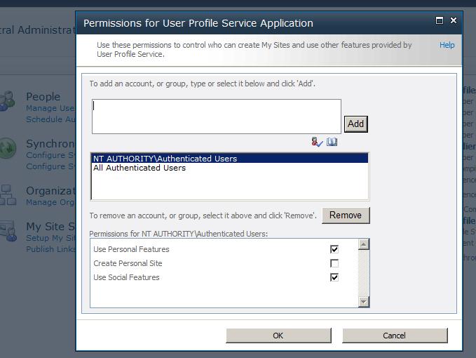 User Profile Service Permissions