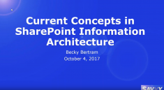 Current Concepts in Information Architecture