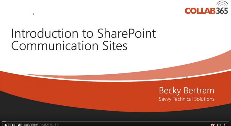 Intro to Communication Sites YouTube Thumbnail