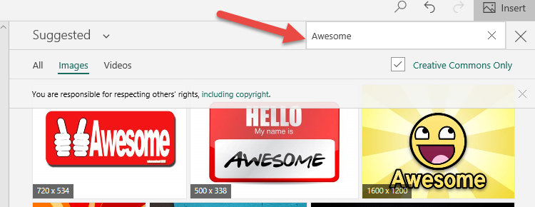 "Change search term to ""awesome"""