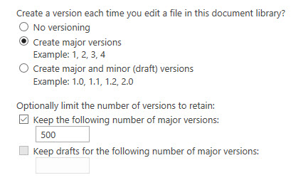 Document library default versioning settings