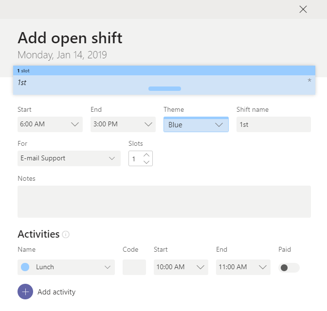 Add Shift Details