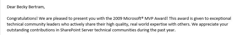 2009 MVP Award Email